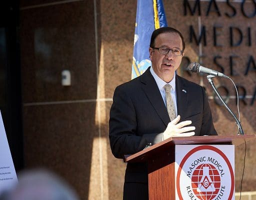 Ceremony at the Masonic Medical Research Institute in Utica, New York on September 13, 2018 with New York State Senator Joseph A. Griffo, 47TH Senate District, who presented a check for $500,000.00 to the Masonic Medical Research Institute.